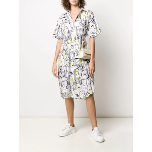 S/S Print Belted Shirt Dress White/Black/Yellow