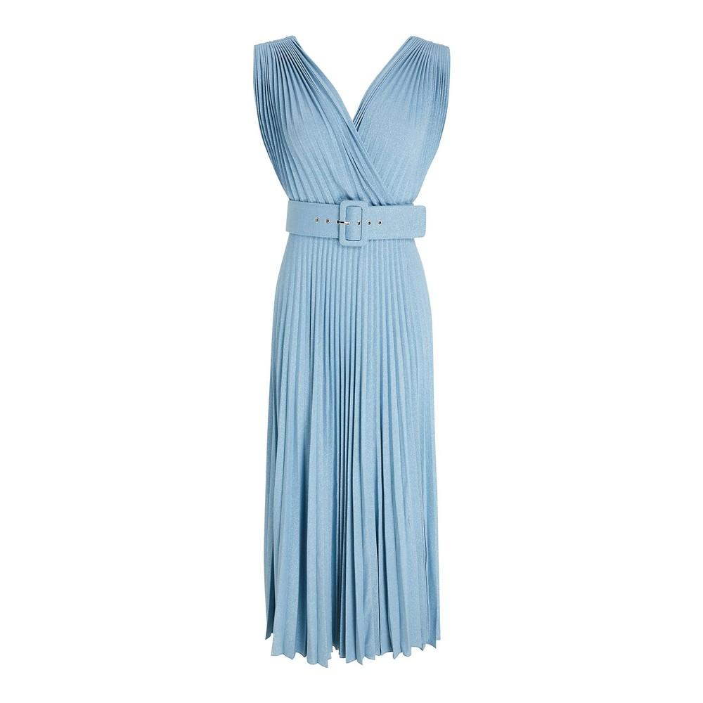 Marella Geode S/L Pleated Dress Light Blue