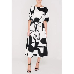 Women Contrast Print Drs Black/Cream