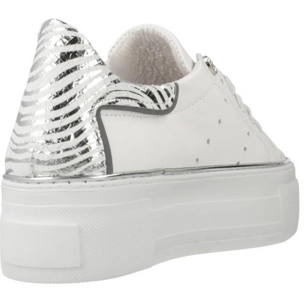 Alpe Zebra Heel Platform Trainer White/Silver