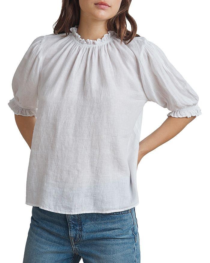 Velvet Rosabel Frill Nk/Slv Linen Top White