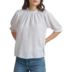 Rosabel Frill Nk/Slv Linen Top White