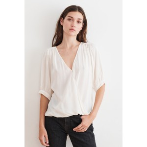Wollow  S/S Wrap Top Cream