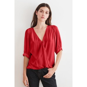 Wollow  S/S Wrap Top Red