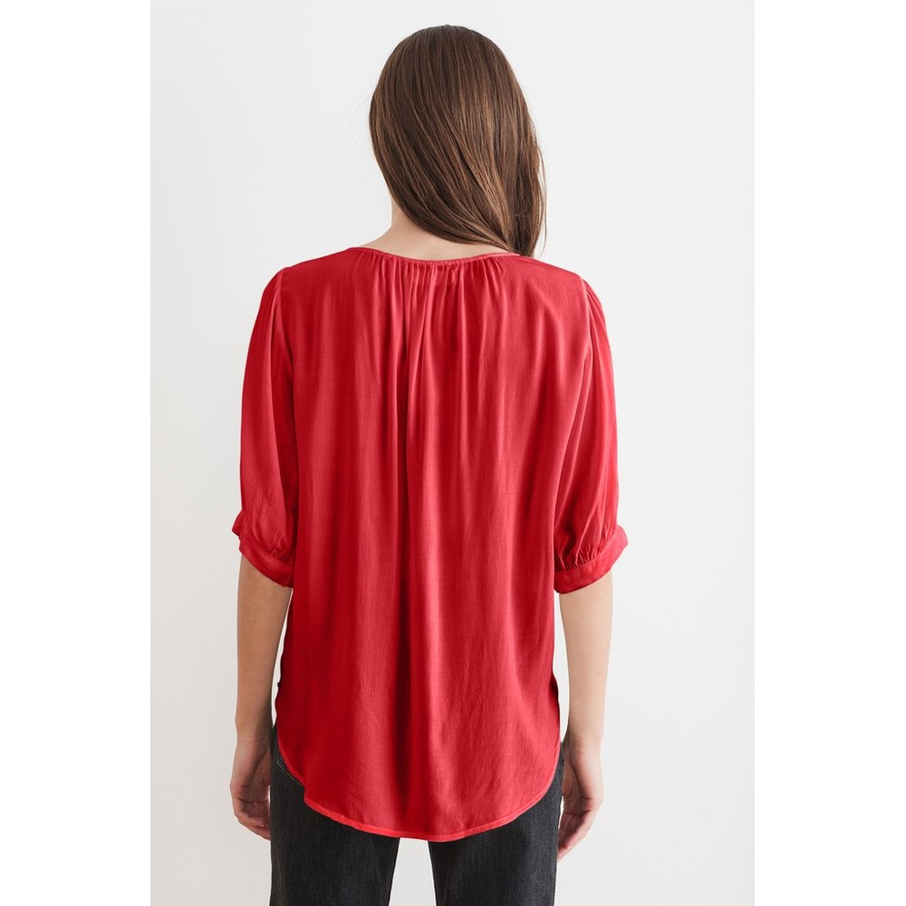 Velvet Wollow  S/S Wrap Top Red