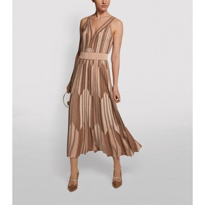 S/L Z/Zag Panel Lurex Long Drs Beige/Bronze/Nude