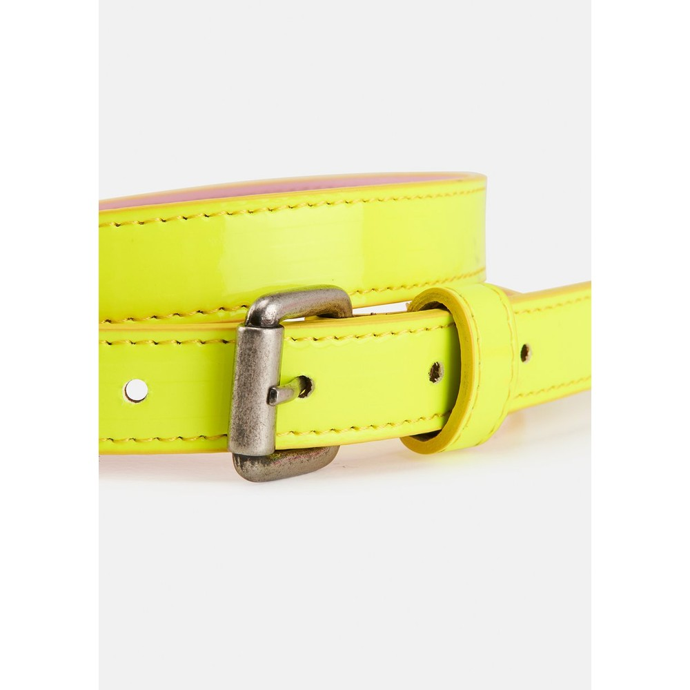 Essentiel Antwerp Velora Patent Belt Neon Yellow