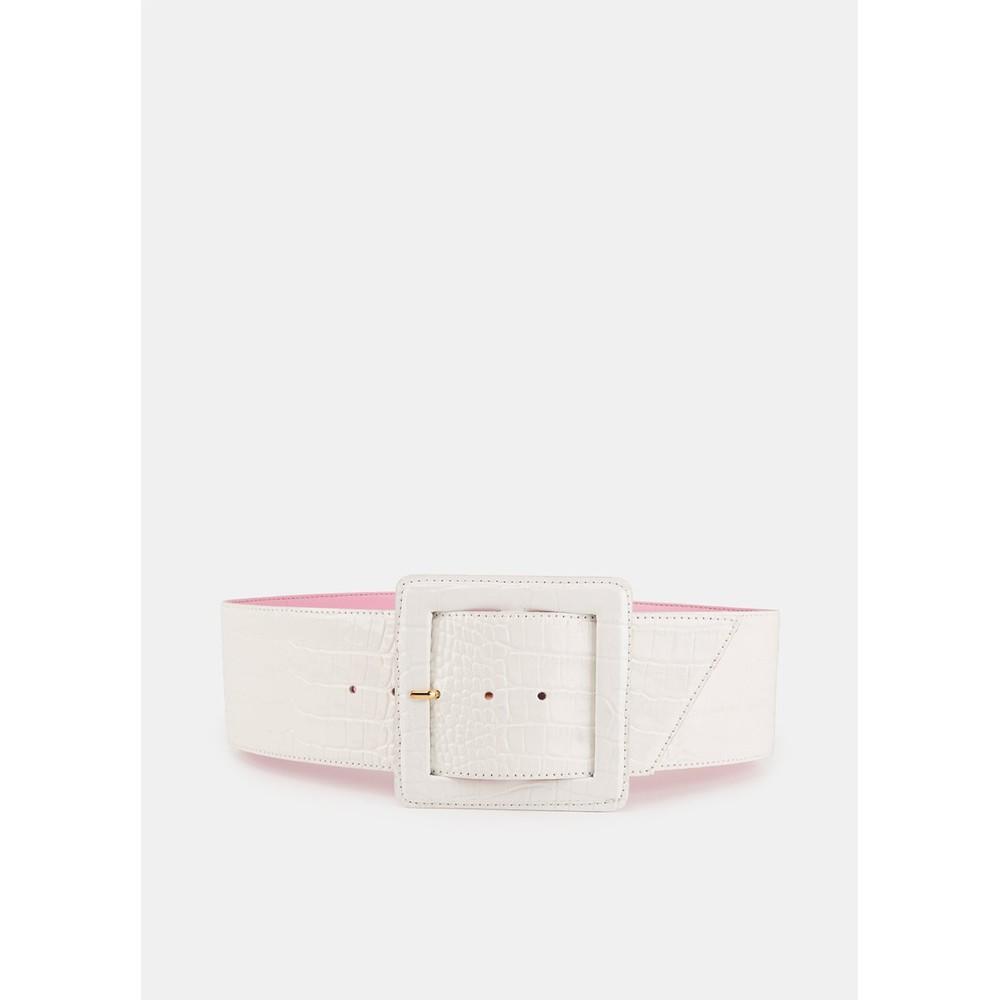 Essentiel Antwerp Vriniti Patent Croc Wide Belt Off White