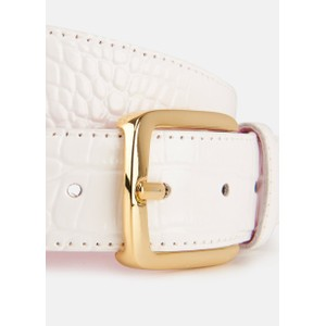 Essentiel Antwerp Vrococo Patent Croc Belt Off White
