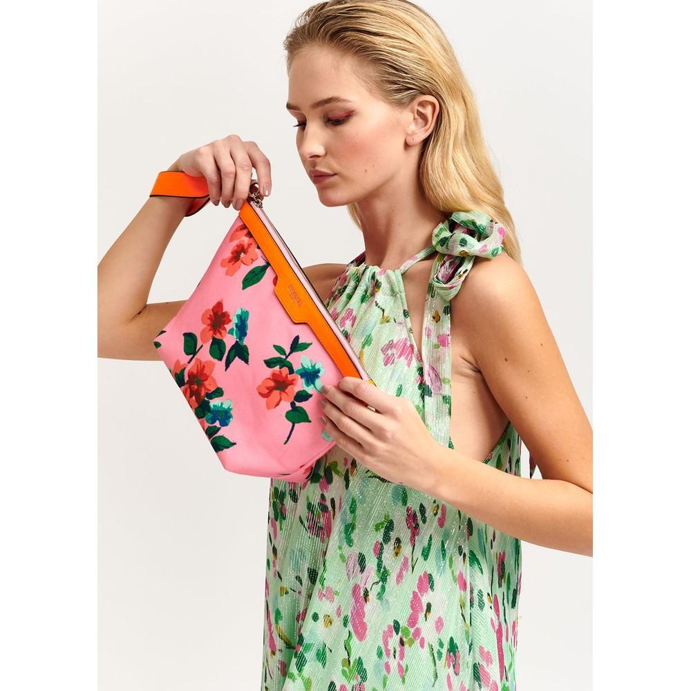 Essentiel Antwerp Venidorm Floral Print Pouch Neon Orange/Pink