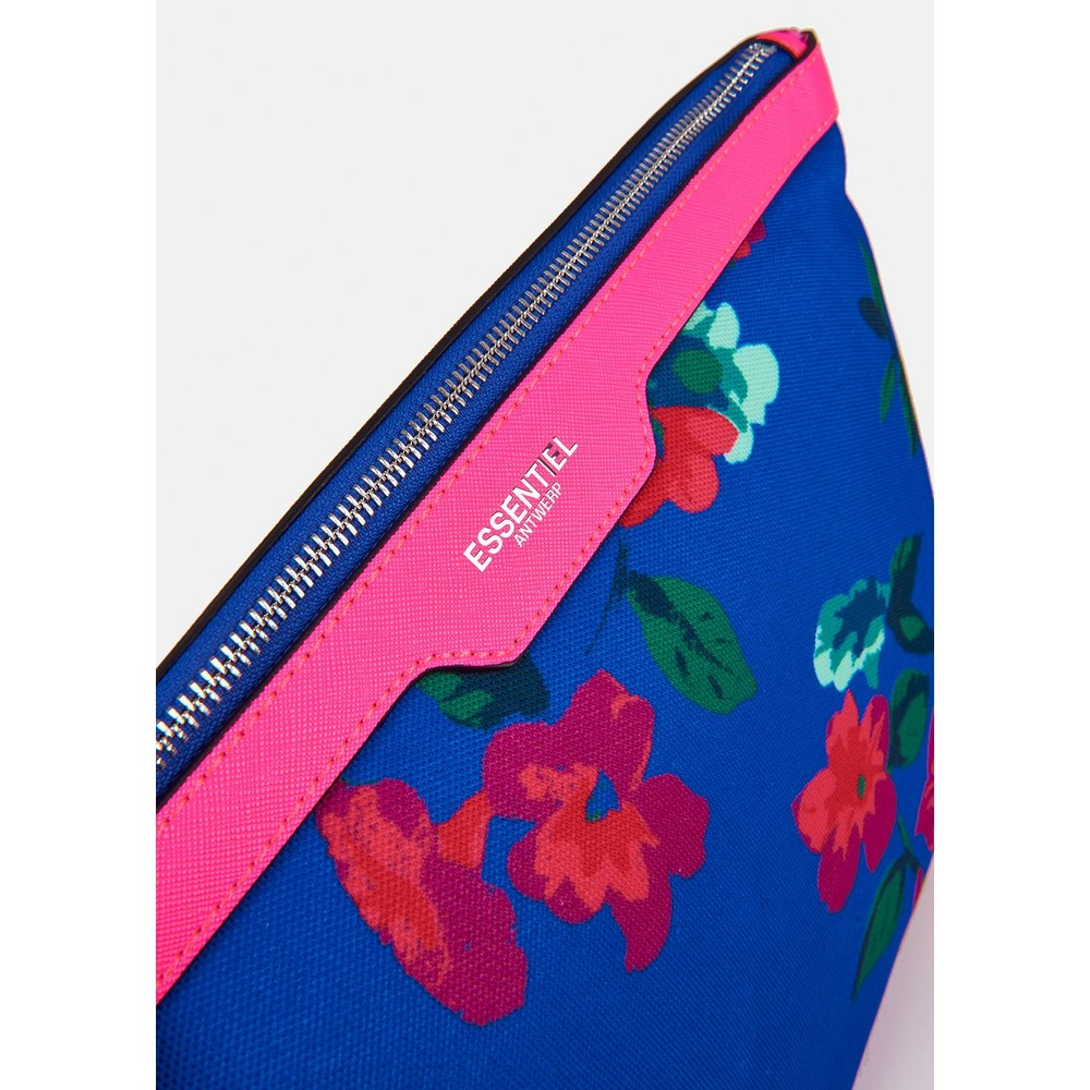 Essentiel Antwerp Venidorm Floral Print Pouch Neon Pink/Bright Blue