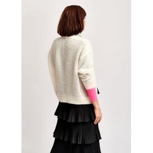 Essentiel Antwerp Vunglasses Neon Cuff Cardi Off White/Neon PInk