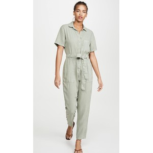 Bella Dahl Button Front Jumpsuit Pale Green