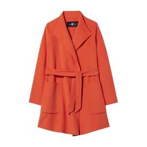 Doubleface Tie Waist Coat Orange