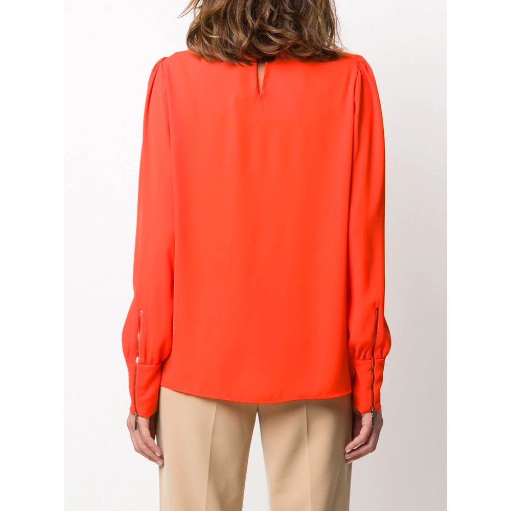Luisa Cerano Zip Cuff Ruffle Nk Blouse Orange