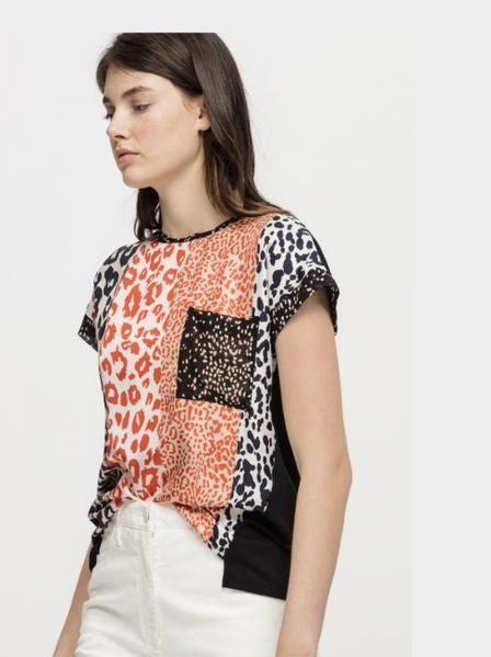 Luisa Cerano Striped Animal Print Front Top Orange/White/Black