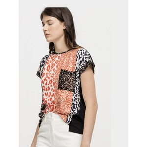 Striped Animal Print Front Top Orange/White/Black