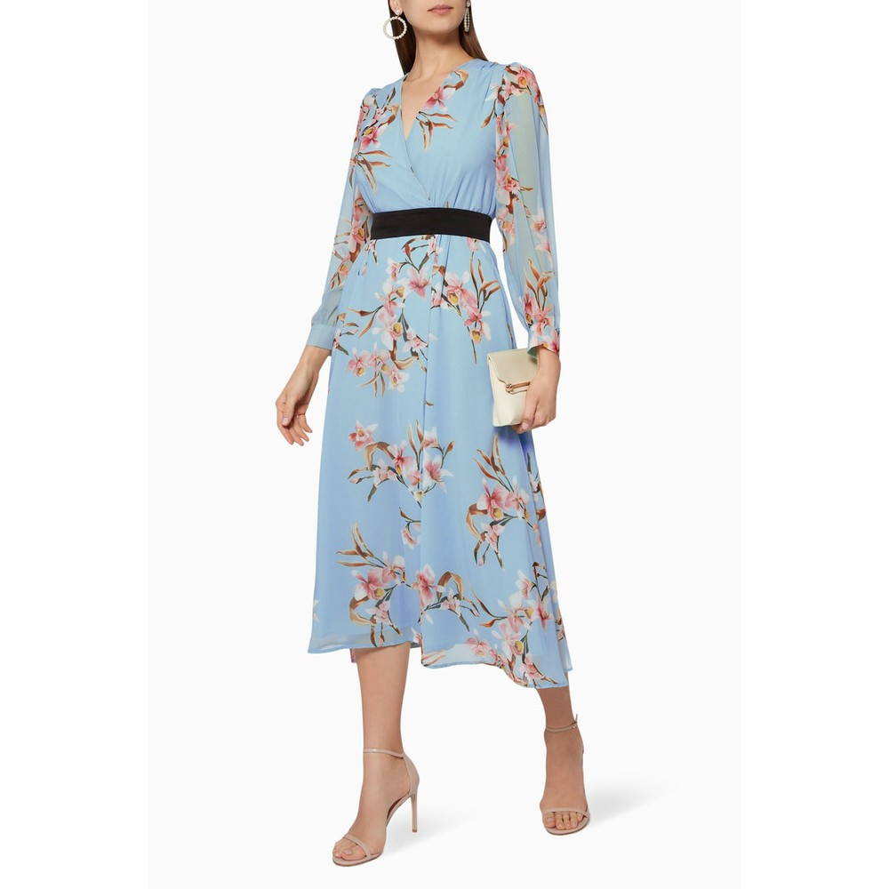 Marella Cutter Floral Dress Light Blue/Multi