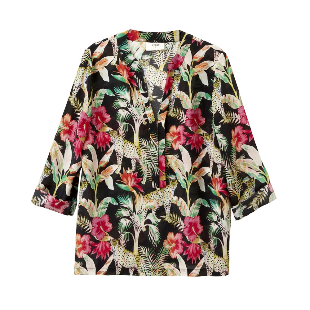 Pyrus Paola 3/4 Sleeve Floral Top Leopard