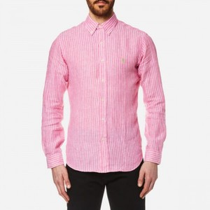 L/S Linen Stripe Slim Shirt Pink/White