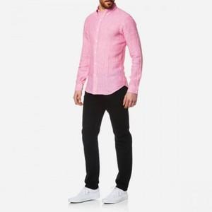 Polo Ralph Lauren L/S Linen Stripe Slim Shirt Pink/White