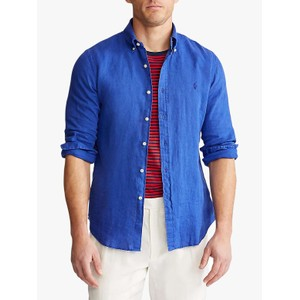 L/S Slim Fit Linen Sport Shirt Summer Royal