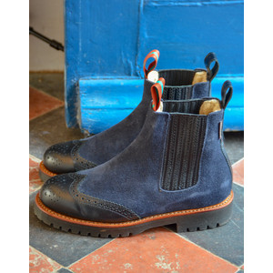 Oscar Ankle Boot with Shearling Lining Navy/Black