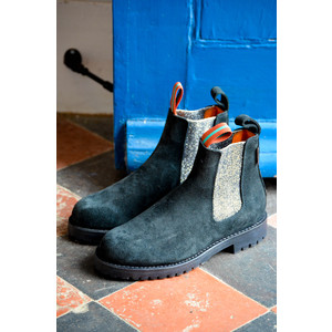 Nelson Suede Boot with Lurex Elastic Black/Silver