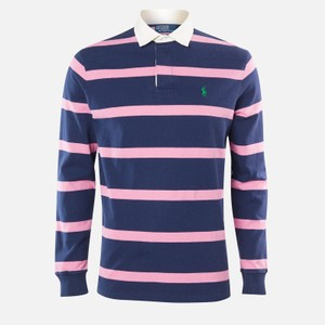 L/S Stripe Rugby Top Blue/Pink