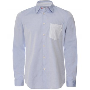 Stripe Pocket Tailored Shirt Pastel Blue