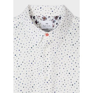 Paul Smith L/S Painted Spot Shirt White/Blue