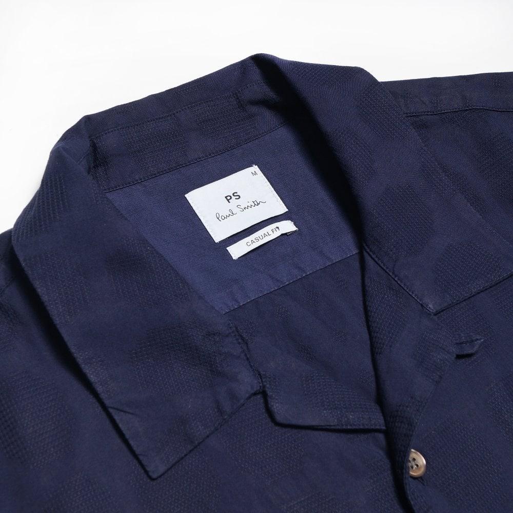 Paul Smith S/S Textured Spot Shirt Inky Blue