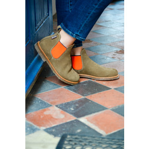 Penelope Chilvers Safari Neon Boots in Peat/Neon Orange