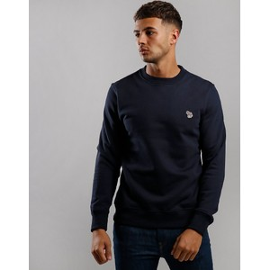 Crew Neck Zebra Knit Dark Navy