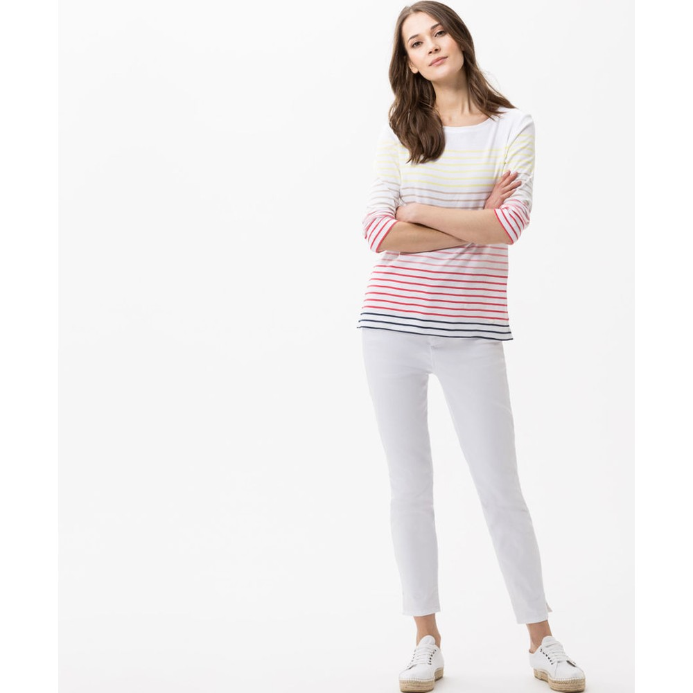 Brax Coletta Rainbow Stripe L/S Top White/Multi