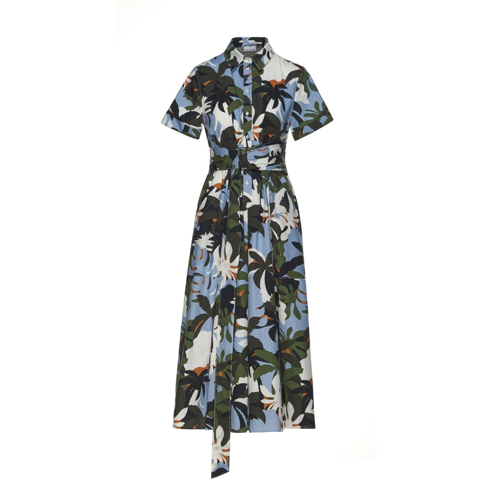 Sfizio Midi Tropical Print Dress Green/Blue