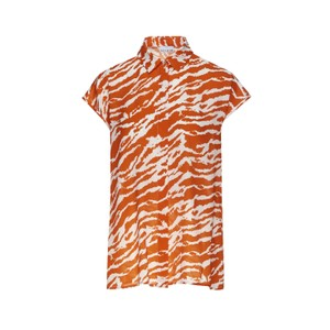 Zebra Print Shirt Orange/White