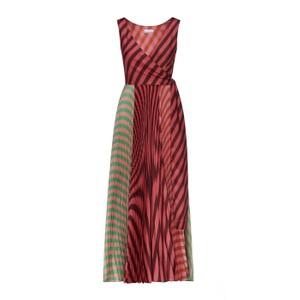 Sfizio Long Pleated Striped Patch Dress Multi