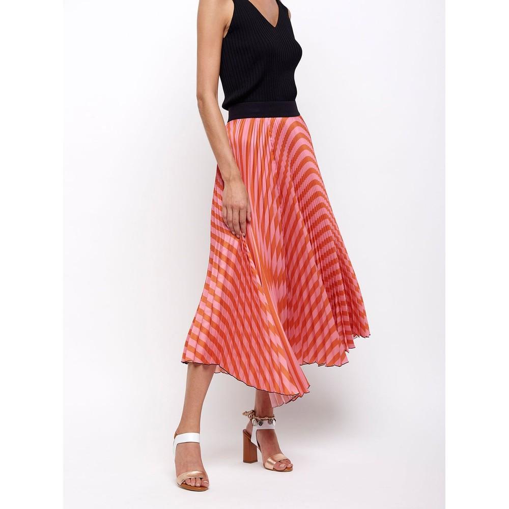Sfizio Pleated Stripe Skirt Pink/Orange