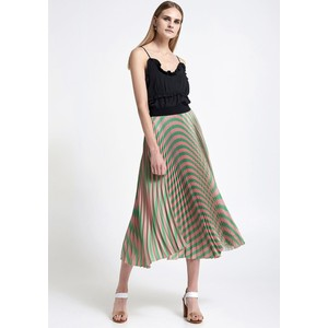 Pleated Stripe Skirt Pink/Green