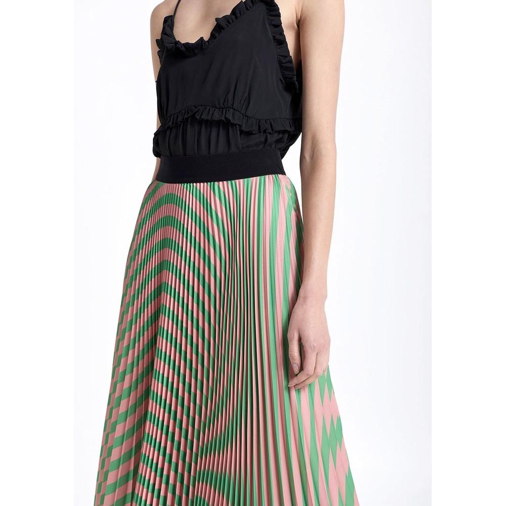Sfizio Pleated Stripe Skirt Pink/Green