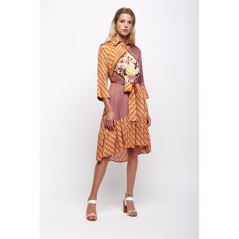 Sfizio Multi Print Shirt Dress w/Belt Orange/Multi
