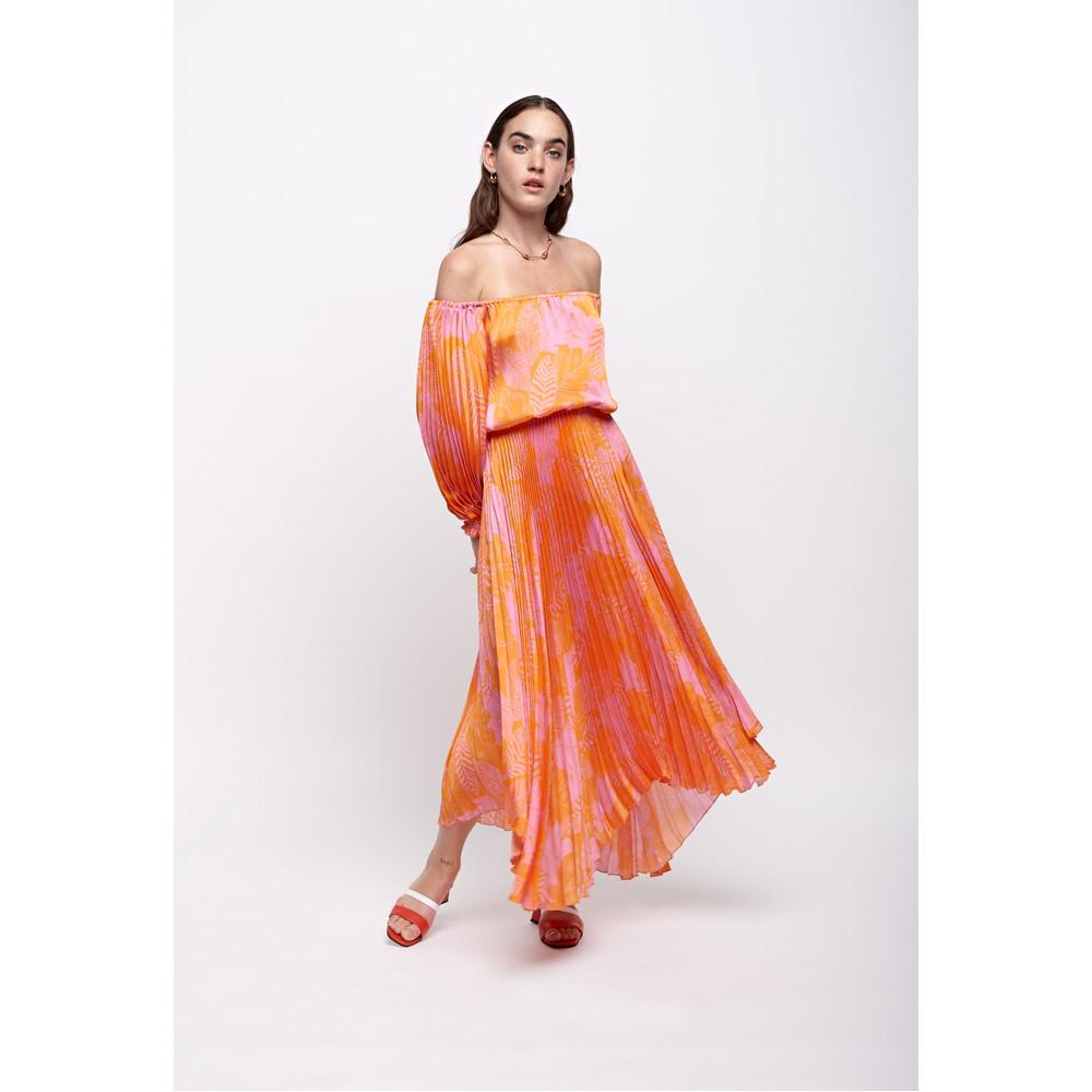 Sfizio Long Sleeve Pleated Dress Orange/Pink
