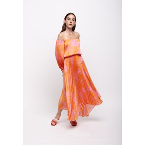 Long Sleeve Pleated Dress Orange/Pink