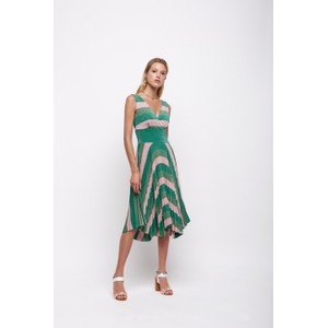 Short Pleat Lurex Stripe Dress Green/Pink