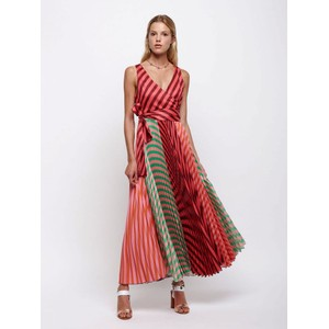 Long Pleated Striped Patch Dress Multi