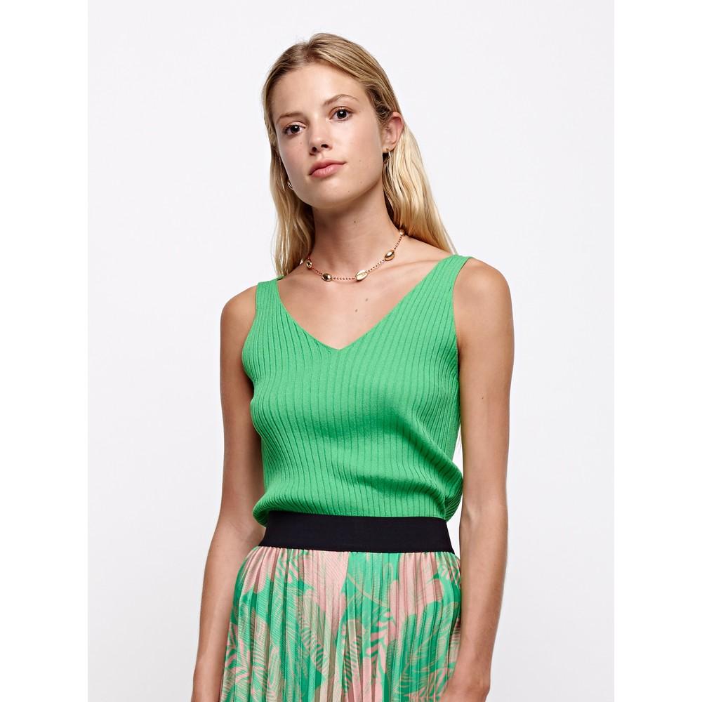 Sfizio S/L V-Neck Knit Top Apple Green