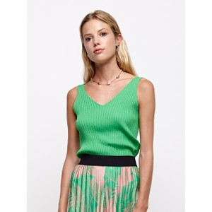 S/L V-Neck Knit Top Apple Green