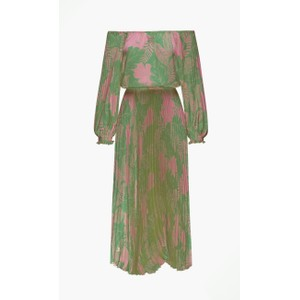 Long Sleeve Pleated Dress Green/Pink