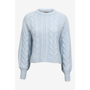 Cinna Chunky Cable Crop Knit Ice Blue